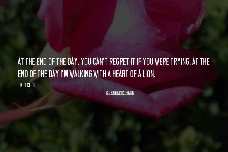 Kid Cudi Sayings: At the end of the day, you can't regret it if you were trying. At
