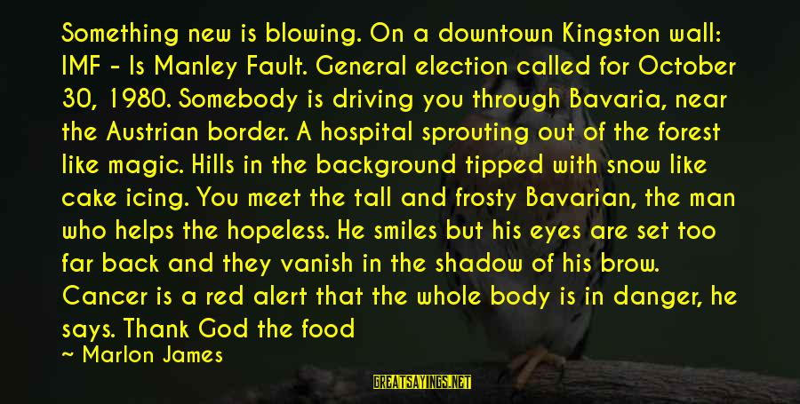 Kingston Sayings By Marlon James: Something new is blowing. On a downtown Kingston wall: IMF - Is Manley Fault. General