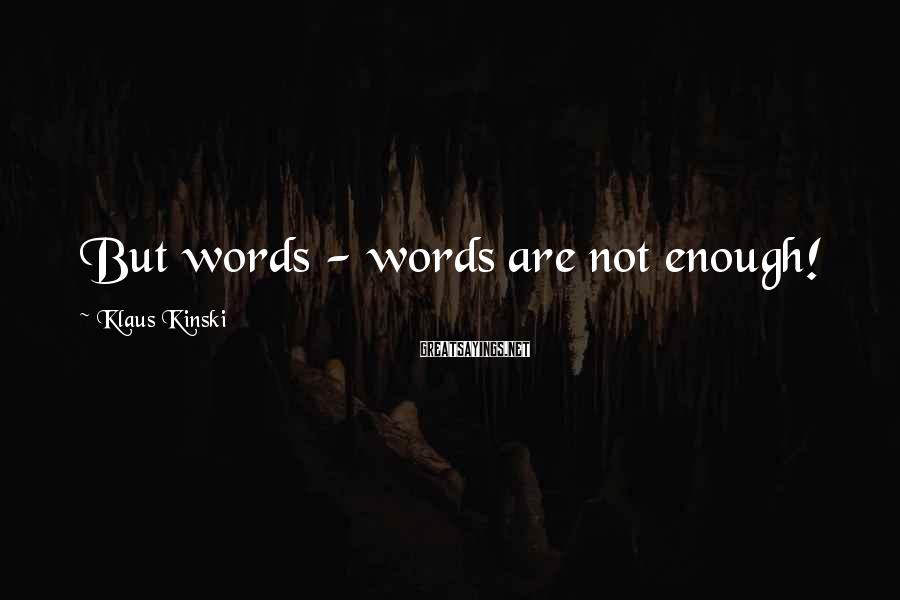 Klaus Kinski Sayings: But words - words are not enough!