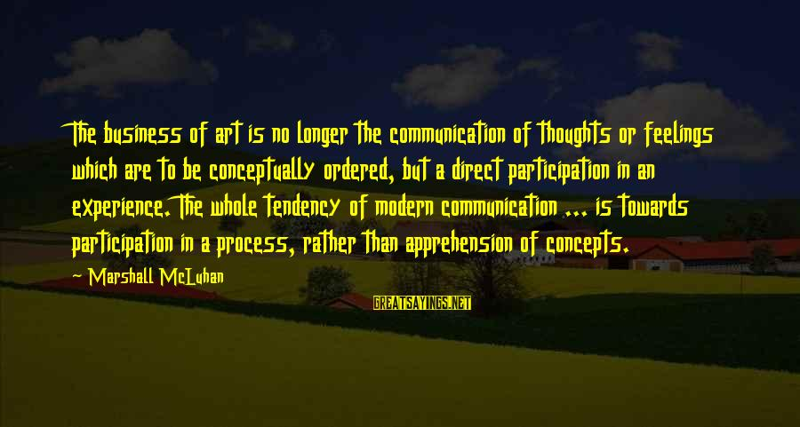 Kleene Sayings By Marshall McLuhan: The business of art is no longer the communication of thoughts or feelings which are