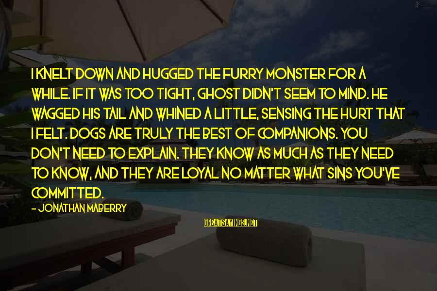 Knelt Sayings By Jonathan Maberry: I knelt down and hugged the furry monster for a while. If it was too