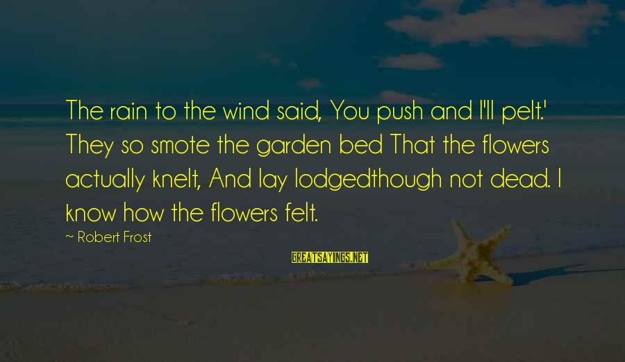 Knelt Sayings By Robert Frost: The rain to the wind said, You push and I'll pelt.' They so smote the