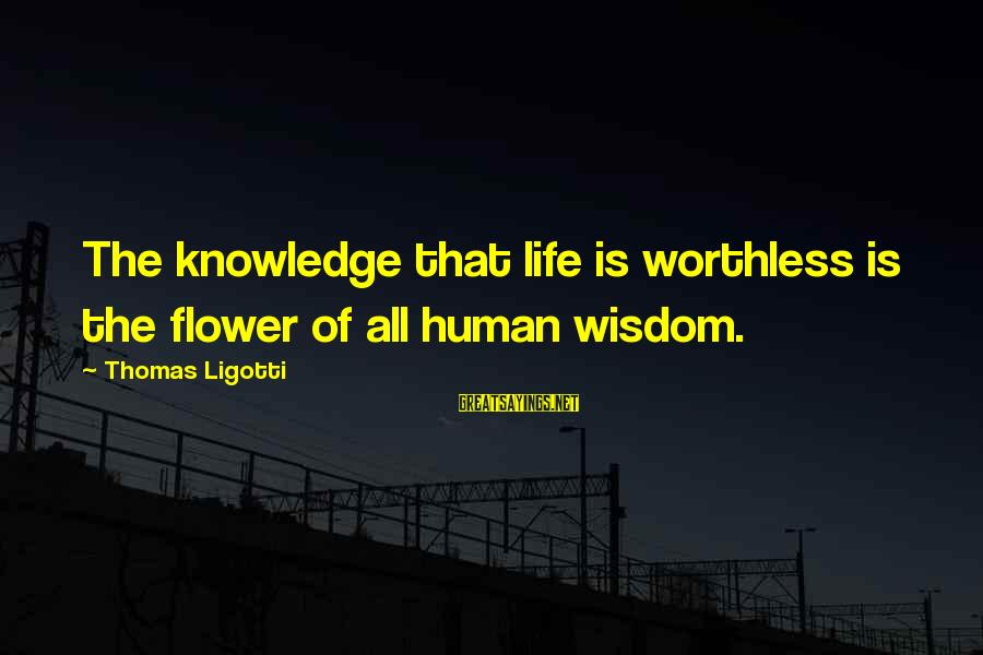 Knowledge Is Wisdom Sayings By Thomas Ligotti: The knowledge that life is worthless is the flower of all human wisdom.
