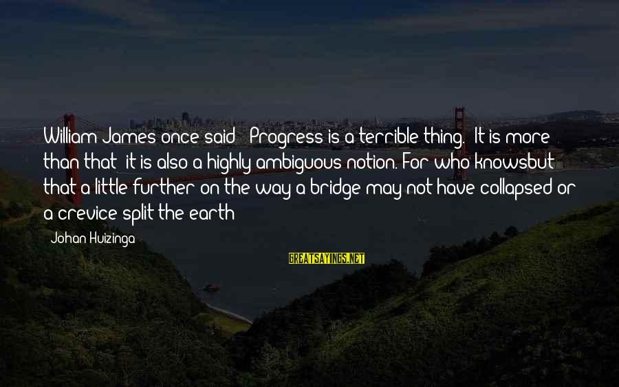 """Knowsbut Sayings By Johan Huizinga: William James once said: """"Progress is a terrible thing."""" It is more than that: it"""