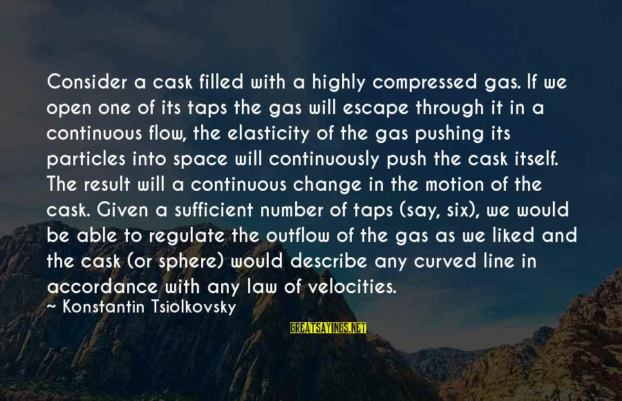 Konstantin E. Tsiolkovsky Sayings By Konstantin Tsiolkovsky: Consider a cask filled with a highly compressed gas. If we open one of its