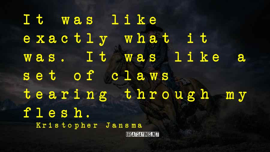 Kristopher Jansma Sayings: It was like exactly what it was. It was like a set of claws tearing