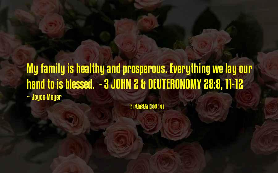 L Am Blessed Sayings By Joyce Meyer: My family is healthy and prosperous. Everything we lay our hand to is blessed. -