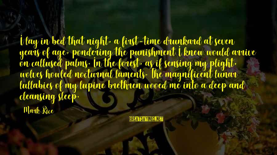 Laments Sayings By Mark Rice: I lay in bed that night, a first-time drunkard at seven years of age, pondering