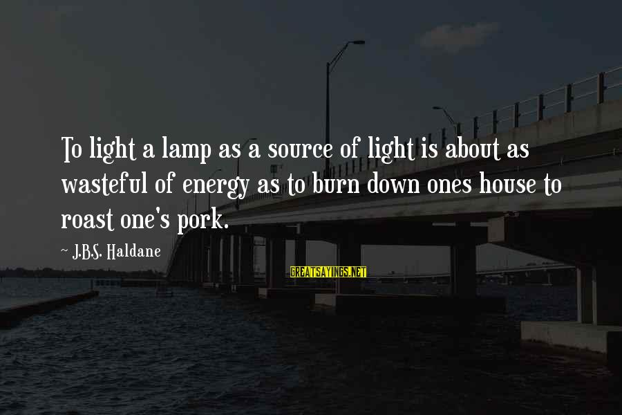 Lamp Sayings By J.B.S. Haldane: To light a lamp as a source of light is about as wasteful of energy