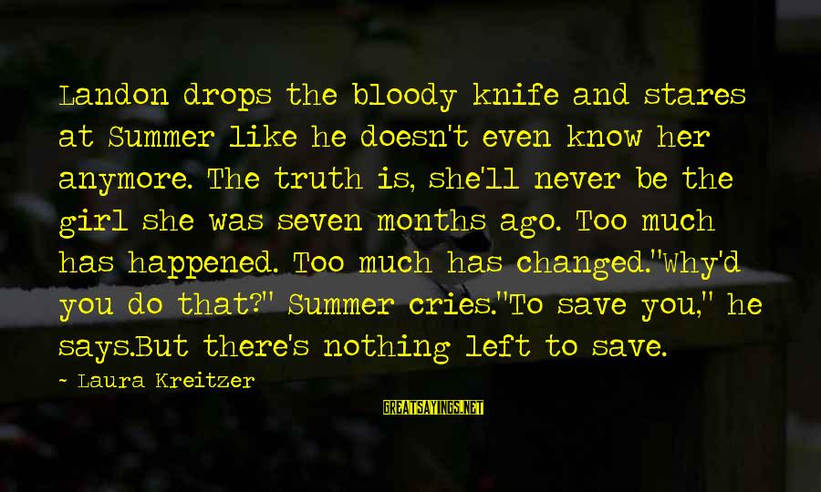 Landon's Sayings By Laura Kreitzer: Landon drops the bloody knife and stares at Summer like he doesn't even know her