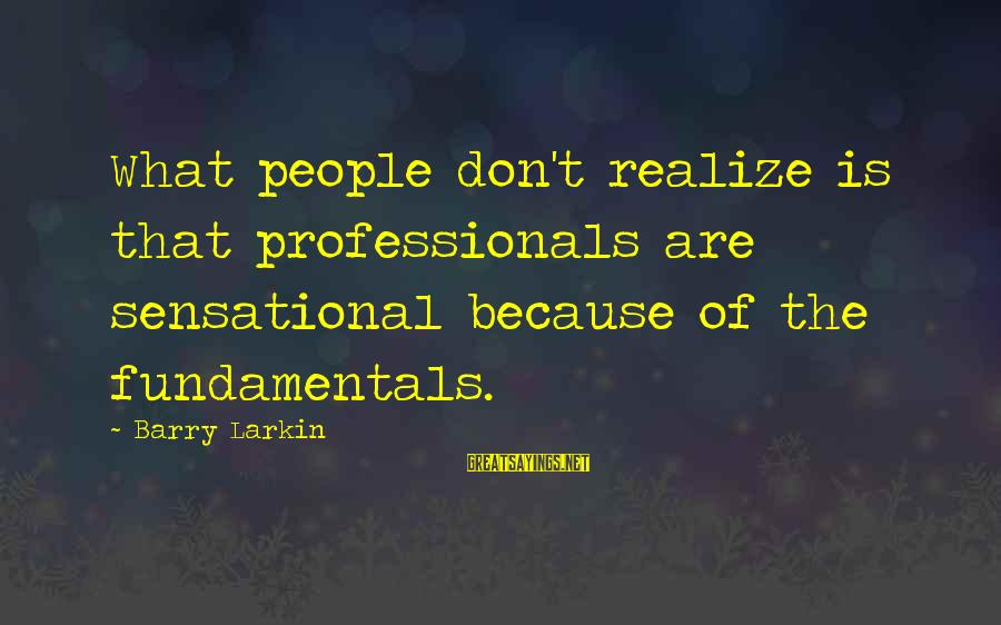 Larkin Sayings By Barry Larkin: What people don't realize is that professionals are sensational because of the fundamentals.