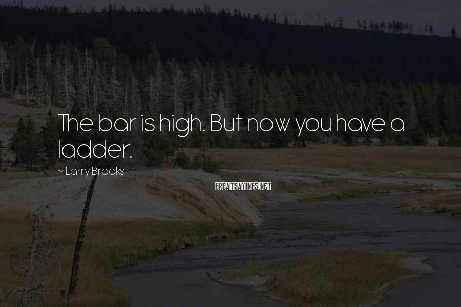Larry Brooks Sayings: The bar is high. But now you have a ladder.