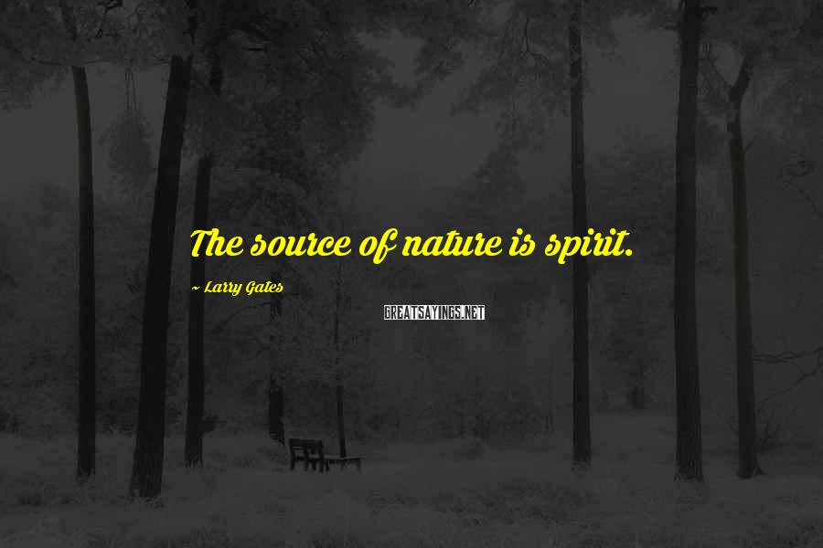 Larry Gates Sayings: The source of nature is spirit.