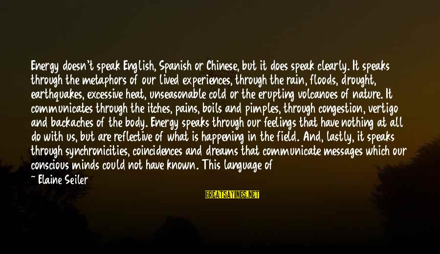 Lastly Sayings By Elaine Seiler: Energy doesn't speak English, Spanish or Chinese, but it does speak clearly. It speaks through