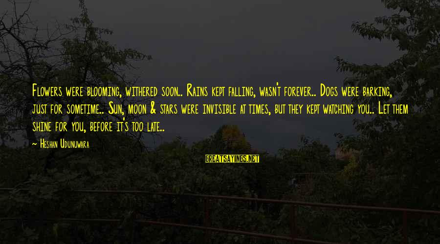 Late Blooming Sayings By Heshan Udunuwara: Flowers were blooming, withered soon.. Rains kept falling, wasn't forever.. Dogs were barking, just for