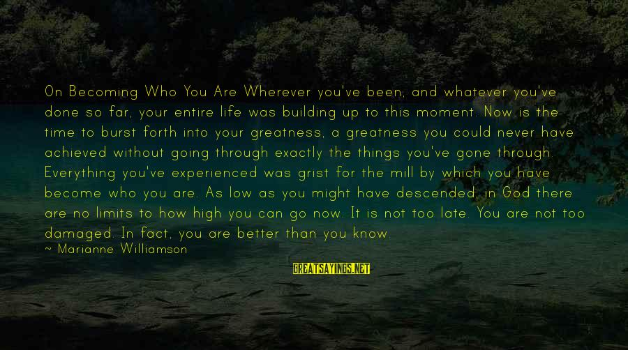 Late Than Never Sayings By Marianne Williamson: On Becoming Who You Are Wherever you've been, and whatever you've done so far, your