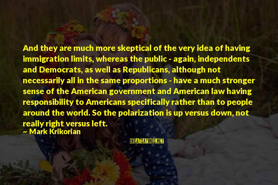 Law And Government Sayings By Mark Krikorian: And they are much more skeptical of the very idea of having immigration limits, whereas