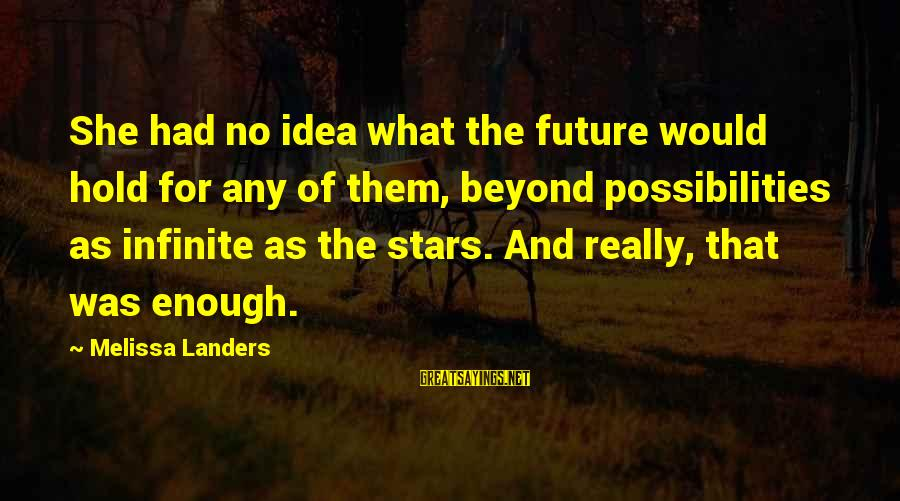 Lawnmower Sayings By Melissa Landers: She had no idea what the future would hold for any of them, beyond possibilities