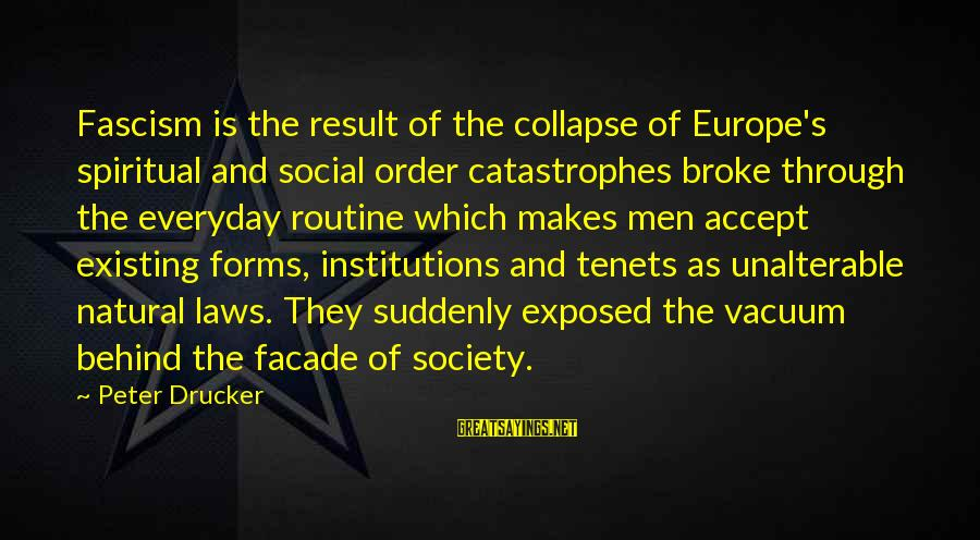 Laws And Society Sayings By Peter Drucker: Fascism is the result of the collapse of Europe's spiritual and social order catastrophes broke