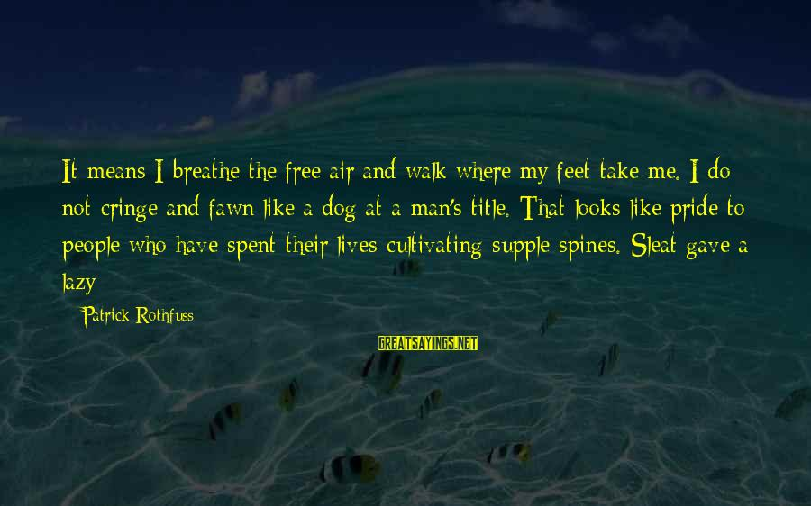 Lazy Man's Sayings By Patrick Rothfuss: It means I breathe the free air and walk where my feet take me. I