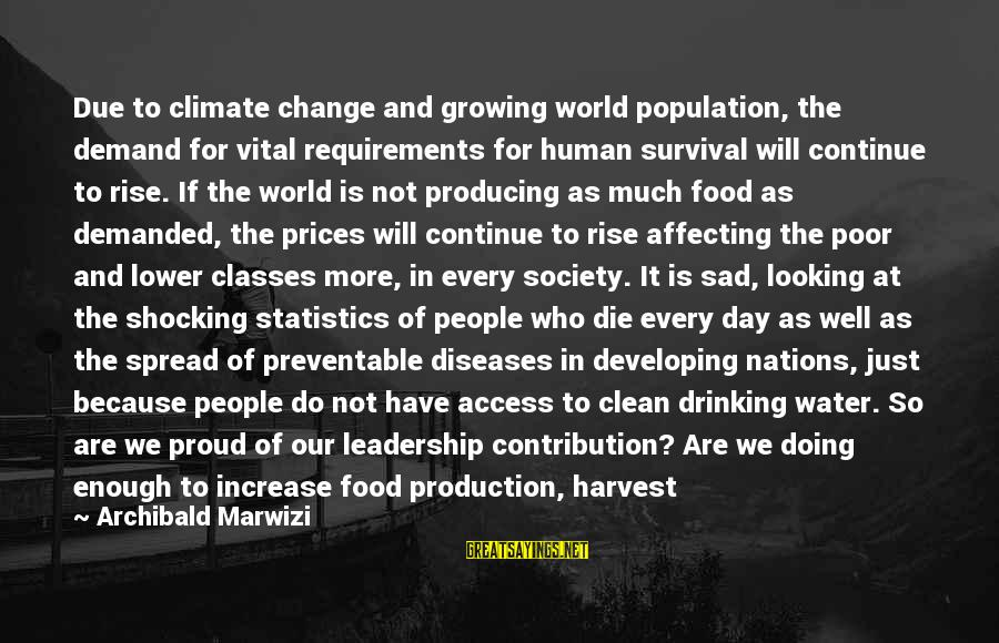 Leadership For Change Sayings By Archibald Marwizi: Due to climate change and growing world population, the demand for vital requirements for human