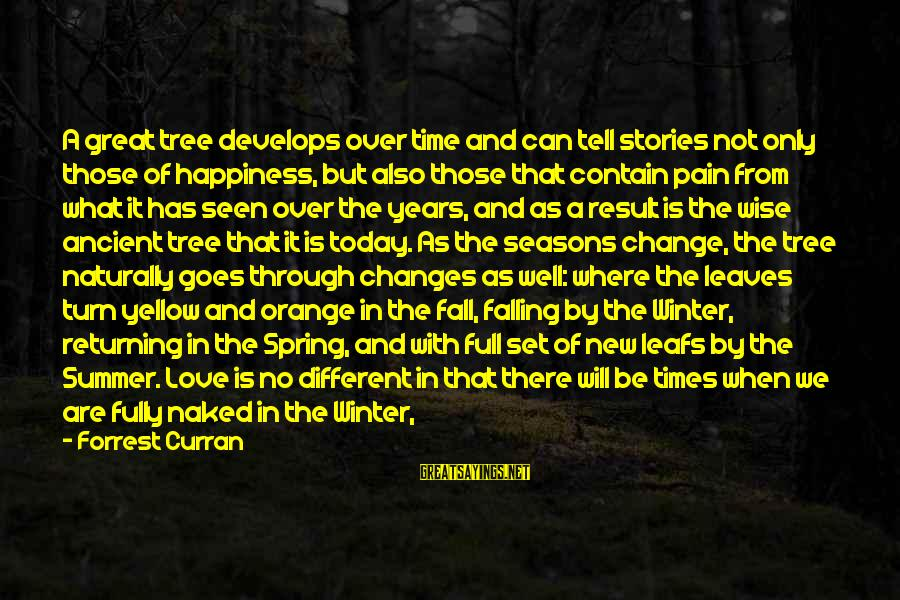 Leafs Sayings By Forrest Curran: A great tree develops over time and can tell stories not only those of happiness,