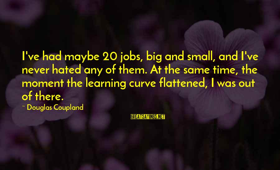 Learning Curve Sayings By Douglas Coupland: I've had maybe 20 jobs, big and small, and I've never hated any of them.