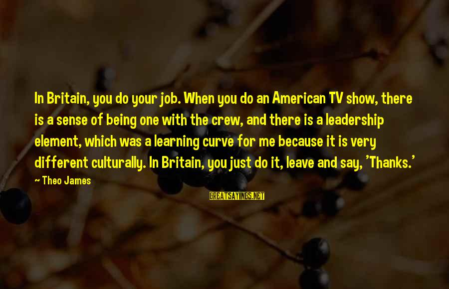 Learning Curve Sayings By Theo James: In Britain, you do your job. When you do an American TV show, there is