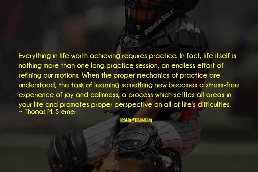 Learning Difficulties Sayings By Thomas M. Sterner: Everything in life worth achieving requires practice. In fact, life itself is nothing more than
