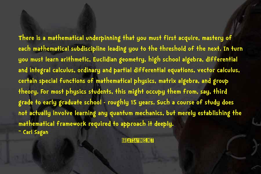 Learning In High School Sayings By Carl Sagan: There is a mathematical underpinning that you must first acquire, mastery of each mathematical subdiscipline
