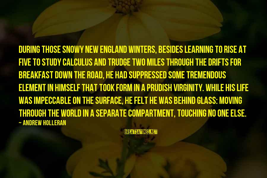 Learning Through Life Sayings By Andrew Holleran: During those snowy New England winters, besides learning to rise at five to study calculus