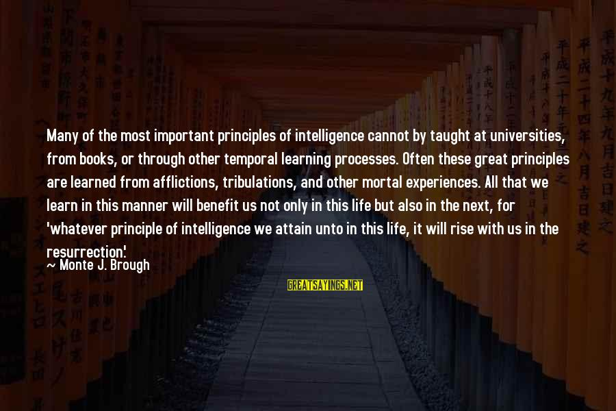 Learning Through Life Sayings By Monte J. Brough: Many of the most important principles of intelligence cannot by taught at universities, from books,