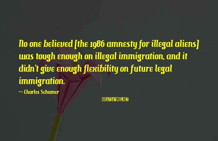 Legal Immigration Sayings By Charles Schumer: No one believed [the 1986 amnesty for illegal aliens] was tough enough on illegal immigration,