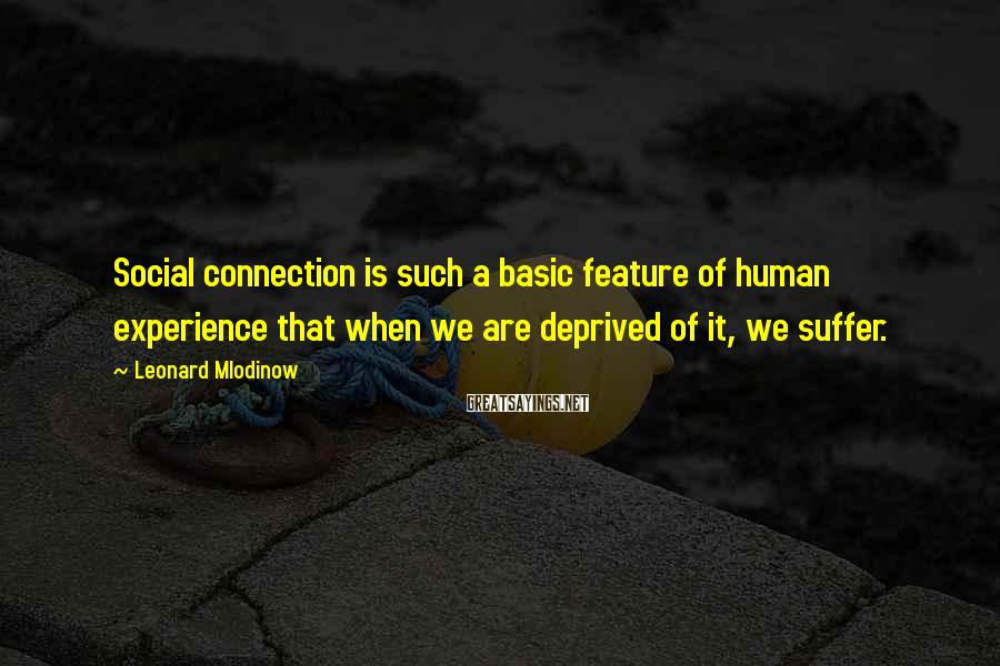 Leonard Mlodinow Sayings: Social connection is such a basic feature of human experience that when we are deprived