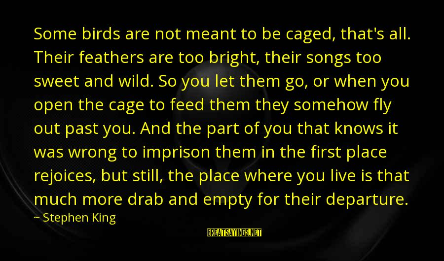 Let Them Live Sayings By Stephen King: Some birds are not meant to be caged, that's all. Their feathers are too bright,