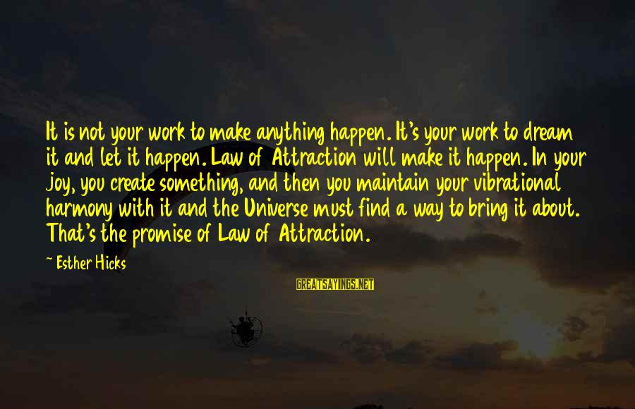 Let's Make It Work Sayings By Esther Hicks: It is not your work to make anything happen. It's your work to dream it