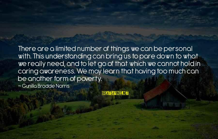 Letting Down Sayings By Gunilla Brodde Norris: There are a limited number of things we can be personal with. This understanding can