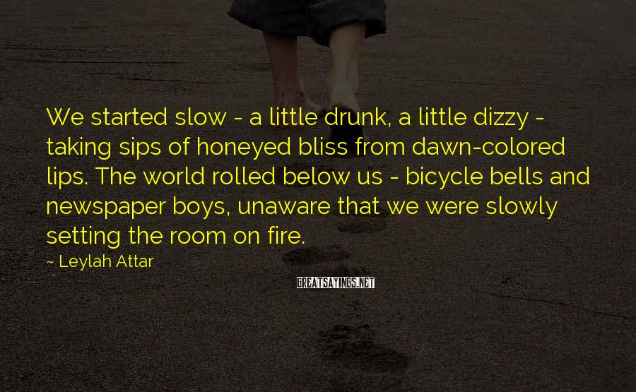 Leylah Attar Sayings: We started slow - a little drunk, a little dizzy - taking sips of honeyed