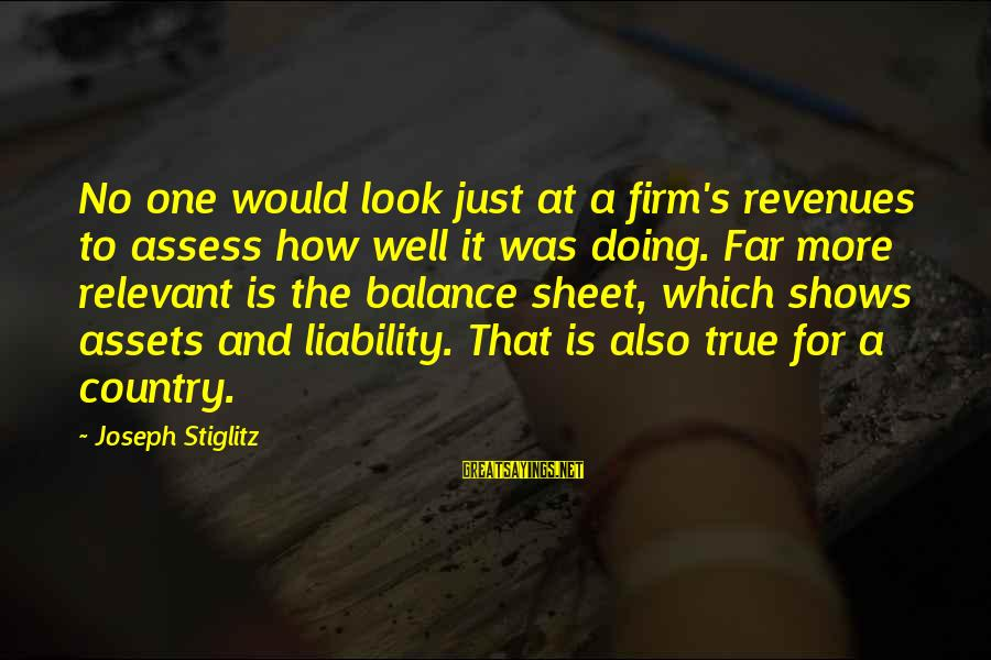 Liability Sayings By Joseph Stiglitz: No one would look just at a firm's revenues to assess how well it was