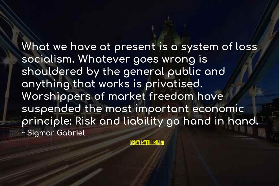 Liability Sayings By Sigmar Gabriel: What we have at present is a system of loss socialism. Whatever goes wrong is