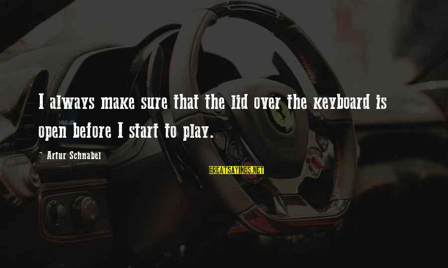 Lid Sayings By Artur Schnabel: I always make sure that the lid over the keyboard is open before I start