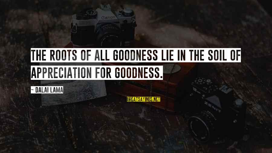 Lie Sayings By Dalai Lama: The roots of all goodness lie in the soil of appreciation for goodness.