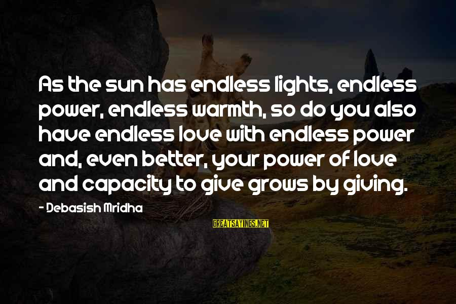 Life And Inspirational Sayings By Debasish Mridha: As the sun has endless lights, endless power, endless warmth, so do you also have