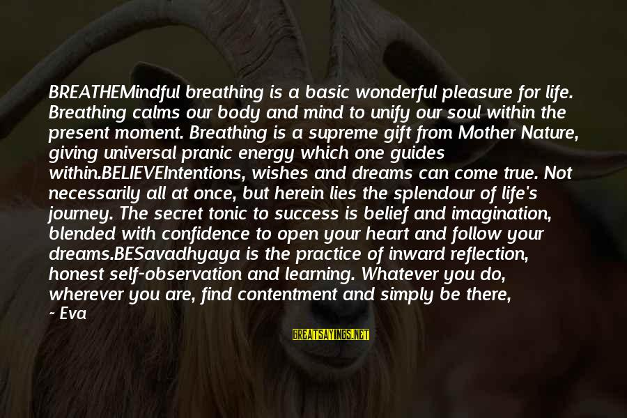 Life And Journey Sayings By Eva: BREATHEMindful breathing is a basic wonderful pleasure for life. Breathing calms our body and mind