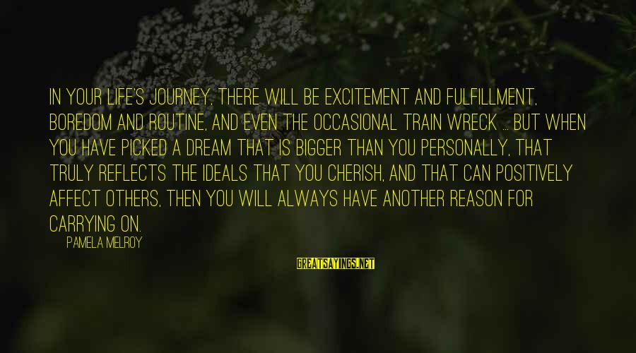 Life And Journey Sayings By Pamela Melroy: In your life's journey, there will be excitement and fulfillment, boredom and routine, and even