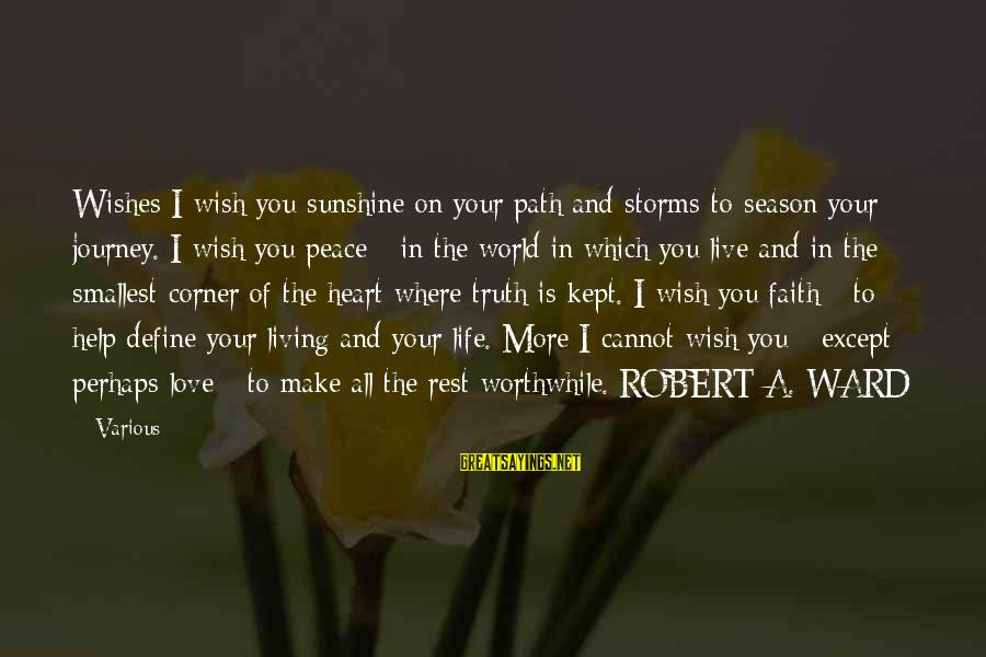 Life And Journey Sayings By Various: Wishes I wish you sunshine on your path and storms to season your journey. I