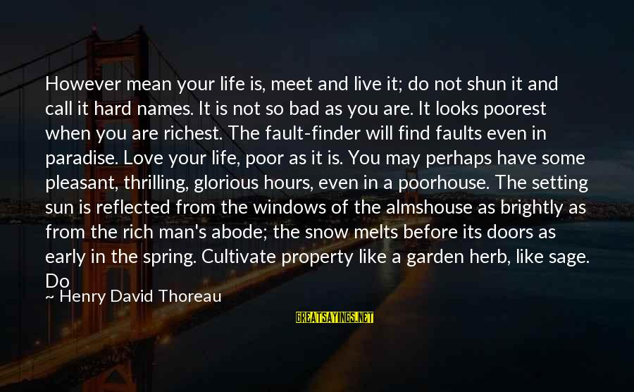 Life Bad Friends Sayings By Henry David Thoreau: However mean your life is, meet and live it; do not shun it and call