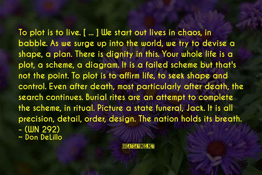 Life Continues Sayings By Don DeLillo: To plot is to live. [ ... ] We start out lives in chaos, in