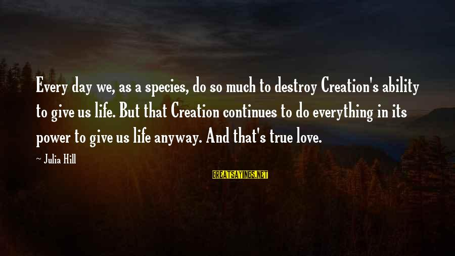 Life Continues Sayings By Julia Hill: Every day we, as a species, do so much to destroy Creation's ability to give