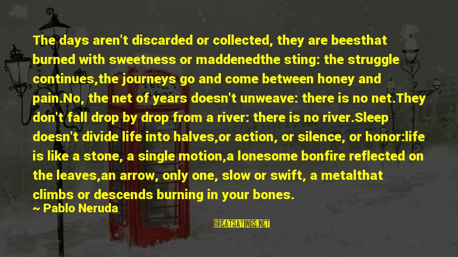 Life Continues Sayings By Pablo Neruda: The days aren't discarded or collected, they are beesthat burned with sweetness or maddenedthe sting: